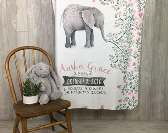 Custom Personalized Birth Stats Snuggle Blanket - Elephant - from The Milk Moustache
