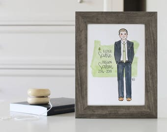 LDS Missionary Gift, Mormon Missionary Custom Illustration LDS Mission Art Personalized Missionary Drawing Watercolor Called to Serve, CTR