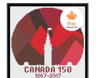Canada 150 Logo Red Cross Stitch Pattern