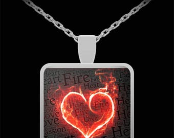 """HEART of FIRE LOVE Pendant  Necklace! Ideal Anniversary Valentine's Day Engagement Wedding I Love You Jewelry Gift!!  22""""  necklace!"""