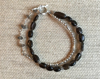 Smoky Quartz and Sterling Silver Double Strand Bracelet