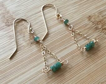 Genuine Emerald Earrings in Gold Fill Trapeze, Gemstone Earrings, Gold Earrings