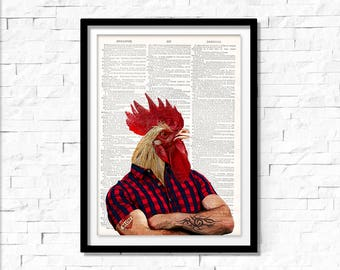 Rooster Art Print, vintage dictionary page book art print, chicken art print, I Love My Mom.