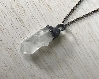 Raw crystal Quartz necklace | Electroformed Clear Quartz necklace | Raw crystal Pendant | Rough quartz crystal necklace