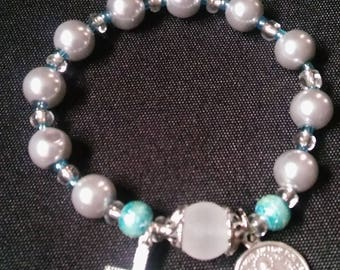 Rosary Stretch Bracelet - Silver Pearl, Miraculous Medal