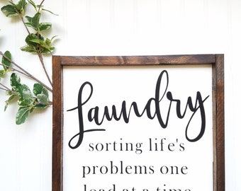 Laundry sorting life's problems, laundry sign, funny laundry sign, laundry room decor, laundry room sign, funny sign, farmhouse decor