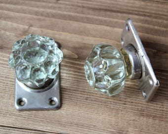 2 glass door knobsold door knobvintage door knob round door handles - Vintage Door Knobs