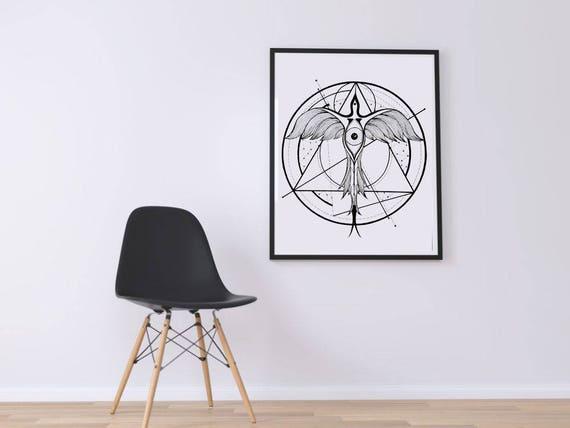 Phoenix Ascending | Printable poster | Geometric tattoo art | Black and white wall decor | Alchemy | Horus Third Eye | ZuskaArt