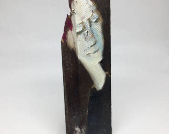 Small painting on wood, decorative gift - broken wood character
