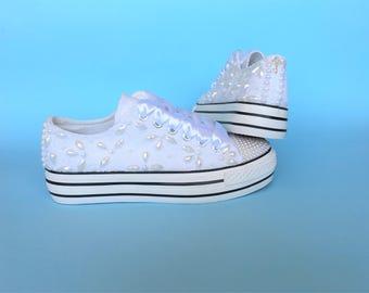 Wedding shoes wedges sneakers, Bridal wedges for wedding, Wedges for bride, wedges Bridal pearl Sneakers platforms women bride wedges