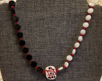 Lampwork Necklace with Red, Black and White Focal Bead