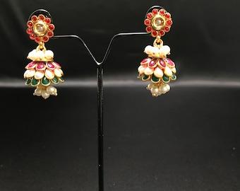 Jhumki Earrings - Indian Earrings - Indian Jewelry - Bollywood Jewelry - Indian Bridal Jewelry - Pakistani Jewelry - Kundan Earrings -