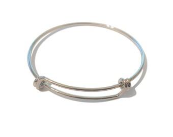 5 Bulk Adjustable Bangle Base | Silver Bangle | 50 mm Girl's Bangle | Wholesale Expandable Bangle Bracelet | DIY | Ready to Ship | SL003-5