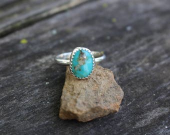 TURQUOISE STACK RING, Size 8, Handmade, Sterling Silver, Ready To Ship!