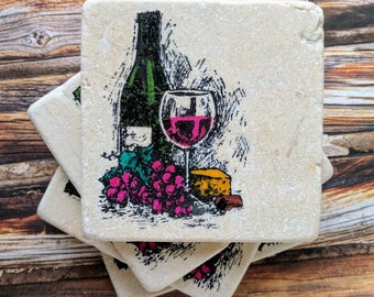 Wine and Cheese Stone Coasters, Wine Coasters, Wine Glass, Red Wine, Wine Lover, Wine Gift Idea, Birthday Gift, Wine Bottle, Grapes, Cork