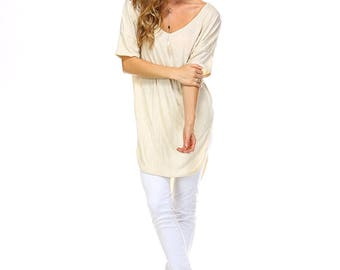 Women's Oatmeal Extra Long Tunic, Oatmeal Scoop Neck Top, Side Slit Tunic, Size S M L XL - Made in USA