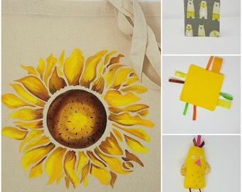 Sunflower Newborn Baby Gift  Set,  baby shower gift,  newborn present, sensory gift set
