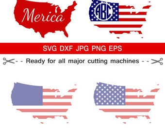 USA Map Flag SVG, 4th of July Monogram, American Flag SVG, Patriotic Monogram svg, Flag, Map, 'merica,for CriCut Silhouette  svg jpg png dxf