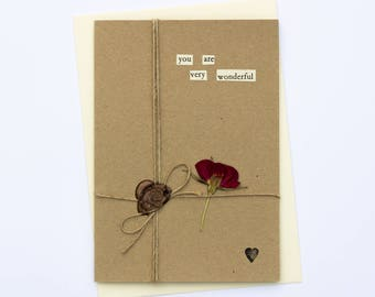You Are Very Wonderful Romantic Handmade Wax Seal Dried Flower Greetings Card
