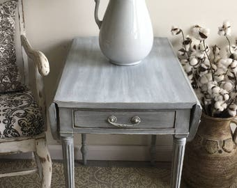 Delightful French Provincial Drop Leaf Table ~ End Table ~ Side Table ~ Table With  Drawer ~