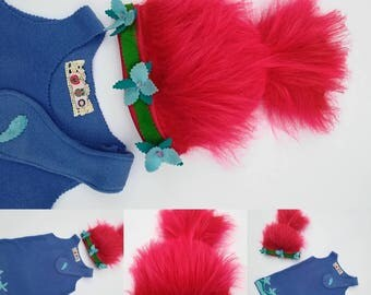 Poppy dress, Trolls birthday party, poppy halloween costume, trolls costume , pillowcase dress,poppy trolls dress, princess Poppy