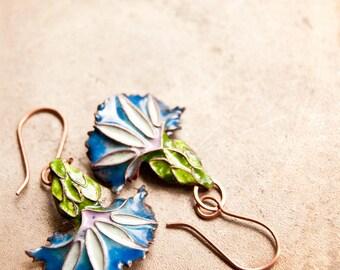 Enamel floral earrings, Blue enamel, flower earrings, Cloisonne enamel Jewelry, Glass enamel