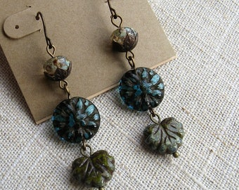 Rustic boho dangle earrings, dahlia flower earrings, rustic boho jewelry