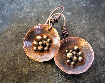 Copper earrings, Rustic earrings, Small round earrings, Copper brass earrings, Artisan jewelry, Metalsmith earrings