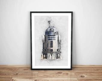 star wars, r2d2 print, instant download, star wars poster, download star wars, droid, r2-d2 download, star wars print,