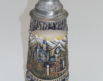 Vintage Original King Beer Stein - Hand Colored Beer Stein - Neuschwanstein - Made in West Germany - Handmalerei 330 1/2 - Origina King 3