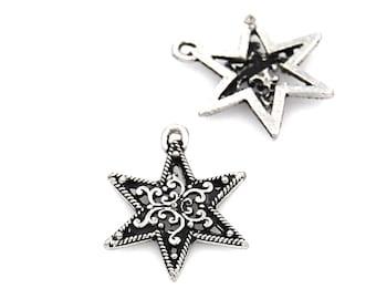 2pc, Filigree Star Charm, Pewter