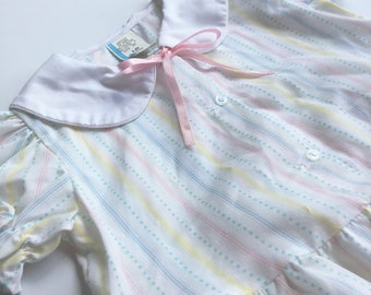 18 Month White Bubble Romper for Baby Girl, Peter Pan Collar, Pink Ribbon Bow, Ruffles at Waist, Feet & on Puffed Sleeves, Dots and Stripes