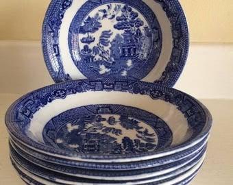 Blue Willow Soup Bowls,England (Set 8)
