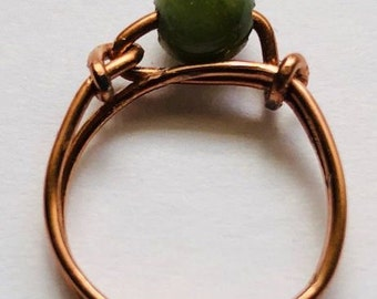 Blood Agate - Copper -  Wire -  Gemstone - Ring