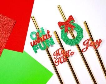 24 Christmas Paper Straws, Christmas Straws, Holiday Straws, Festive Straws, Christmas Party, Christmas Decor, Christmas Toppers