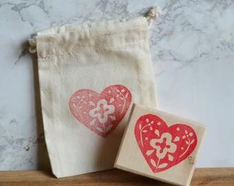 """Floral heart"" stamp"