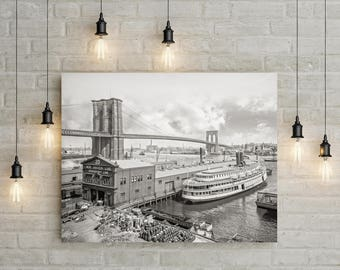 Brooklyn Bridge, Brooklyn, New York City Photo, Steamboats, New Haven-Bridgeport, Black White, Photography, Poster Print, 1905