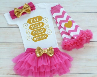 Infant Outfit, Coming Home Baby Girl Shirt, Baby Girl Coming Home Outfit, Eat Sleep Poop Bodysuit, Baby Coming Home Outfit, Baby Shower Gift