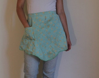 Handmade Vintage Mint Green Cotton Half Skirt Apron with White Floral Pattern and Yellow Flowers. 1 pocket.