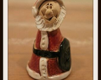 Vintage Miniature Clay Ceramic Santa Claus, Christmas Santa Claus Decoration, Miniature Saint Nick, Unique Santa Claus Figurine
