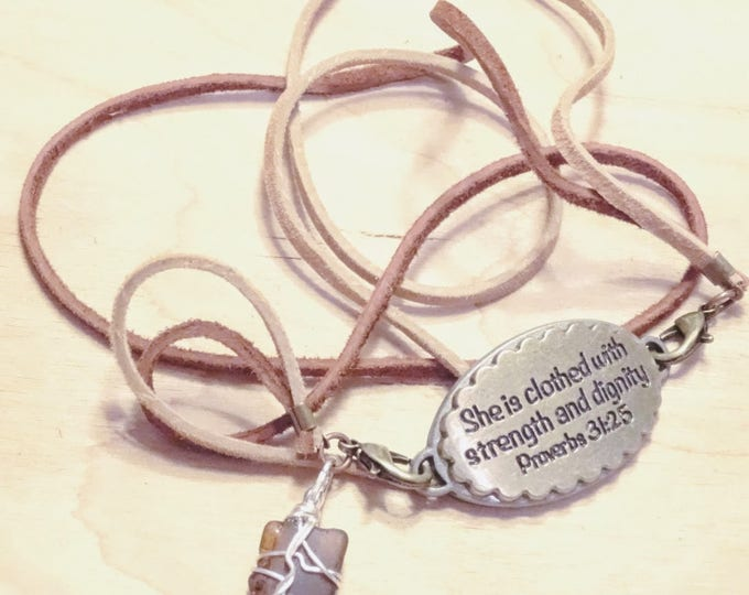 Strappy bracelet Proverbs 31:25 Medallion Brown beach glass charm with tan and brown leather laces and lobster claw closures