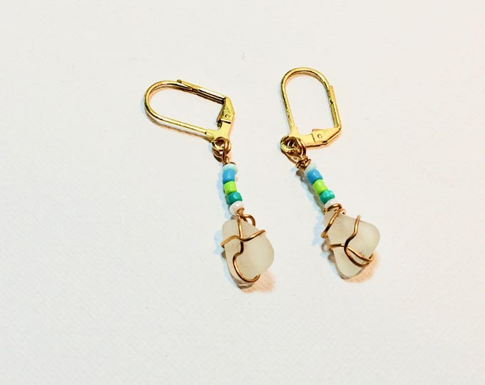 Cute tiny pieces of white beach glass with blue and green beads earrings gold color wire wrap