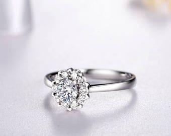 Round Cut Moissanite Engagement Ring 14k White Gold Forever One Moissanite Ring Halo Diamond Engagement Ring Charles & Colvard