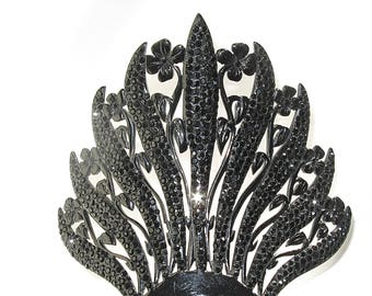 Antique Victorian Mourning Hair Comb Nature Motif Four Leaf Clover Wildflower Comb Hair Ornament Hair Jewelry Flowers Hair Decoration Goth