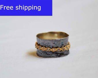 925 Sterling silver ring,Spinner meditation rings for women,Hammered ring, spinner rings,wide ring,spinning,Flower ring