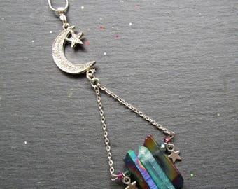 Angel Aura and Rainbow Titanium  Moon Star Necklace , Aura quartz necklace, Angel aura, Crystal necklace, Quartz jewelry, Raw Quartz Jewelry