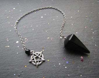 Black Onyx Pendulum with a Pentacle, Black Onyx Pendulum, Pentagram Pendulum, Pendulum Dowsing, Black Pendulum, Pendulum, Pentacle Pendulum