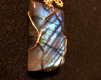 Labradorite pendant with Gold-plated wire and Yellow Gold-filled chain.  L 4