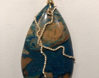 Blue Gost Eye Jasper, Gold wire and a 24 inch Gold-filled chain.  J 2