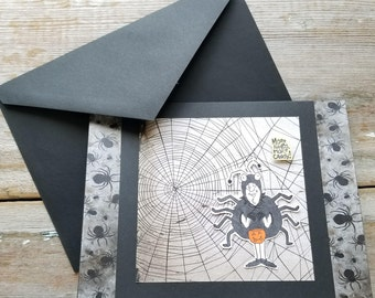 Funny Halloween Card - Halloween Card - Funny Card for Friends - Happy Halloween Card - Halloween Spider - Funny Holiday Card